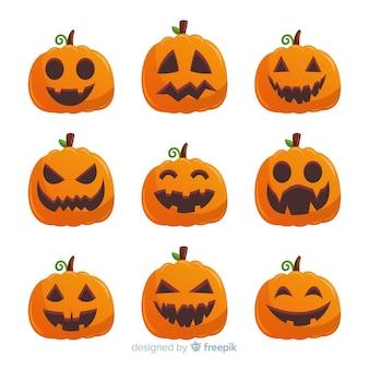 Halloween pumpkin collection with flat design