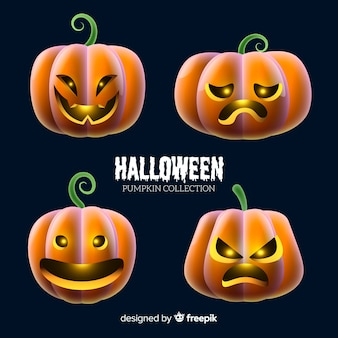 Halloween pumpkin collection with realistic design