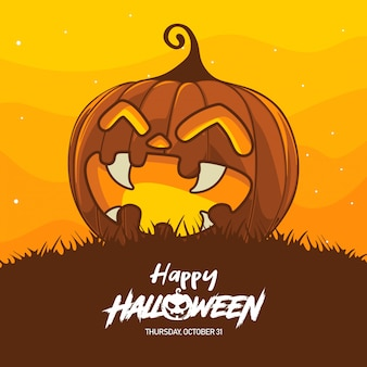 Halloween pumpkin costume illustration