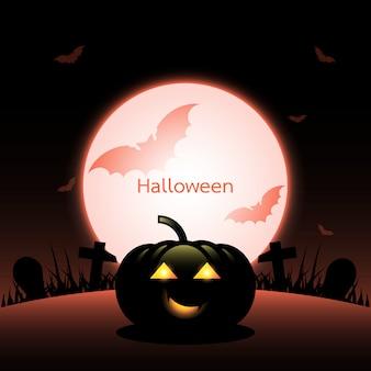 Halloween pumpkin created red moon background