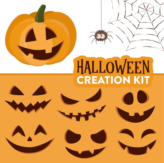 Halloween pumpkin creation kit of cute cartoon pumpkin funny