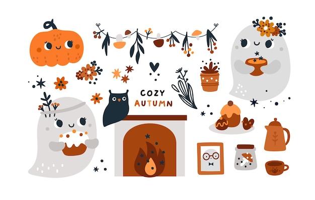 Halloween pumpkin cute childish ghosts happy halloween collection with autumn elements