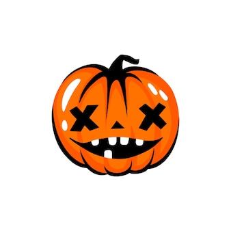 ハロウィーンのカボチャの顔のイラスト。漫画のベクトル文字。面白い秋のシンボル。