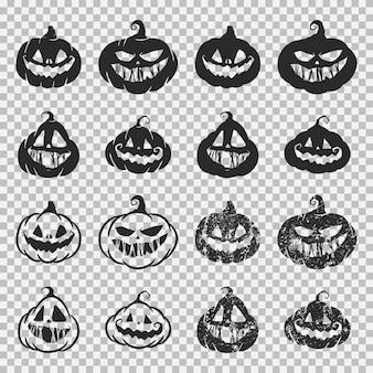 Halloween pumpkin faces black silhouette set isolated