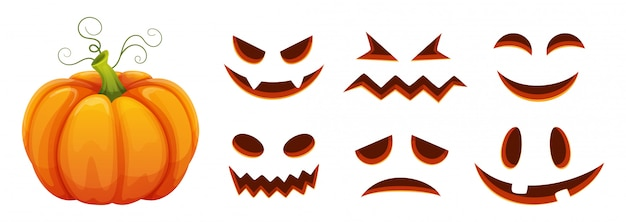 Halloween pumpkin faces generator. cartoon pumpkin with scared and smiley faces