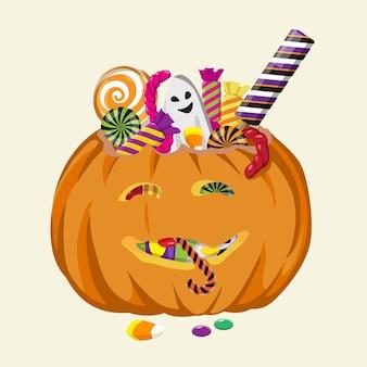 お菓子でいっぱいのハロウィーンのカボチャ背景に分離された手描きのベクトル図