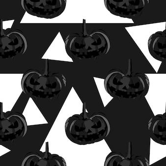 Halloween pumpkin and frankenstein cute seamless pattern