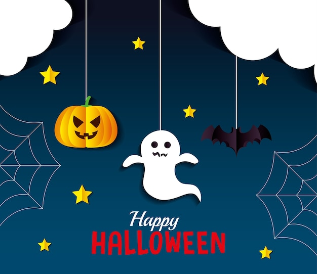 Хэллоуин тыква призрак и летучая мышь мультфильмы висящий дизайн, праздник и страшная тема