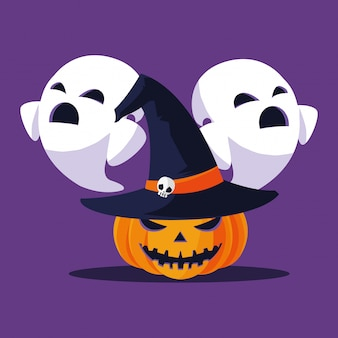 Halloween pumpkin and ghosts cartoons