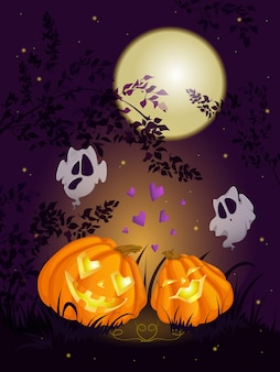 zucca di halloween e fantasmi.