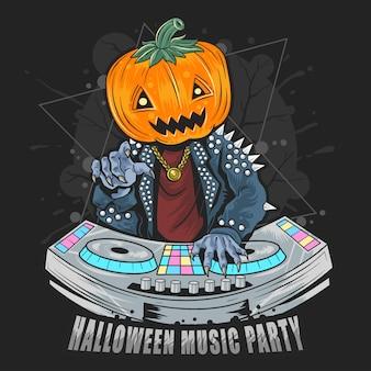 Halloween pumpkin head dj in music party with punk rocker jacket