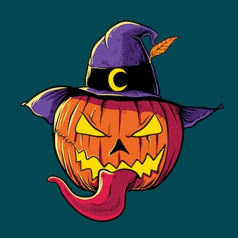 Halloween pumpkin head wearing witch hat illustration