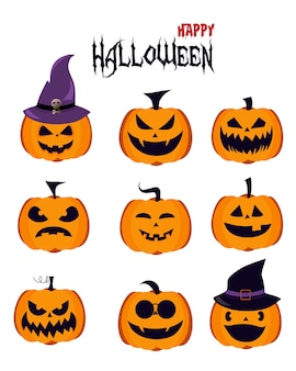 Halloween pumpkin icons with different faces