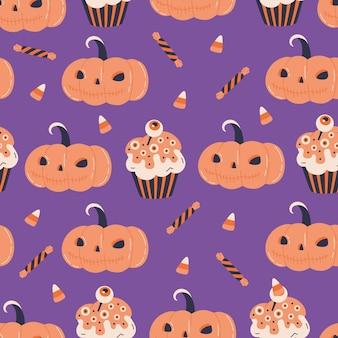 ハロウィーンのカボチャジャックと不気味なカップケーキのシームレスなパターン。キャンディコーンを使ったキュートな不気味なデザートプリントデザイン。落書きフラット漫画スタイルのベクトルテキスタイル壁紙。怖い休日、紫の背景