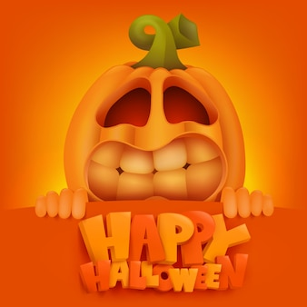 Halloween pumpkin jack lantern invitation card.