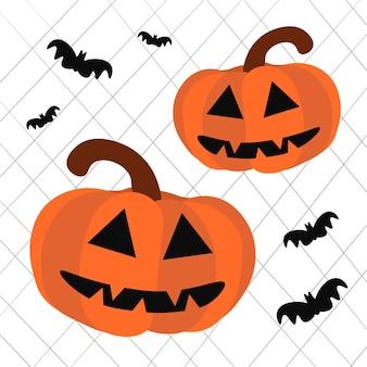 Хэллоуин. тыквенный джек o фонарь и летучие мыши в сети. векторная иллюстрация.