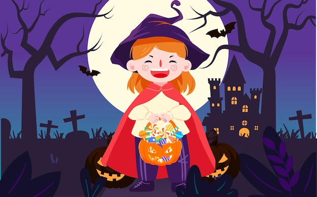 Halloween pumpkin lantern candy illustration holiday magic party event poster