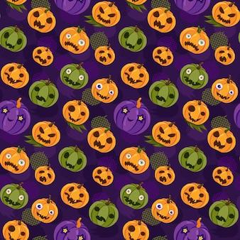 ハロウィーンのカボチャのランタンのシームレスなパターンベクトル。秋の休日を祝う伝統的なお祭り怖い野菜の装飾。変な顔お祭り飾りフラット漫画イラスト