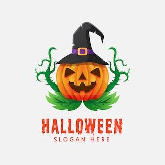Halloween pumpkin logo vector