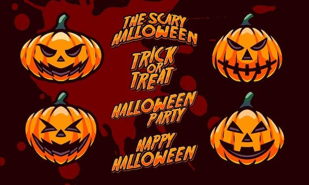 Хэллоуин тыква талисман дизайн логотипа