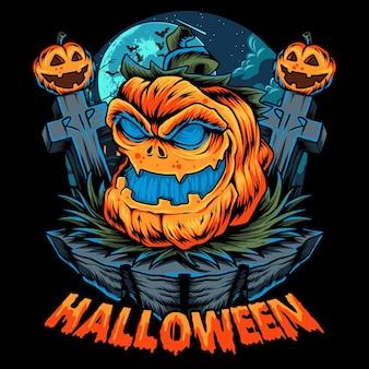 Halloween pumpkin in the middle of halloween night between graves and tombstones