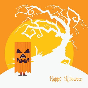 Halloween pumpkin monster standing over a dead tree flat spooky background design