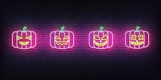 Halloween pumpkin neon. set of bright jack o lantern for halloween celebration