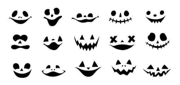 할로윈 호박이나 유령은 벡터 세트에 직면해 있습니다. 짜증 호박 미소 흰색 배경에 고립입니다. 악마가 웃는다. 만화 괴물 컬렉션입니다.