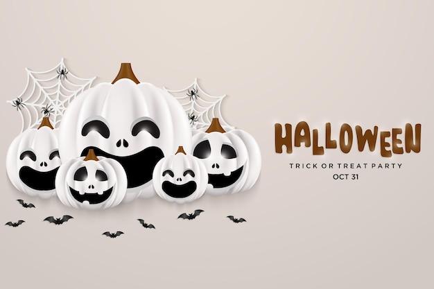 Halloween pumpkin party on white background