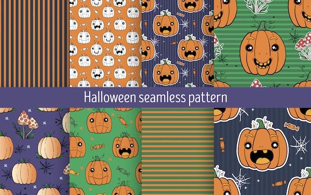 Halloween pumpkin seamless pattern set
