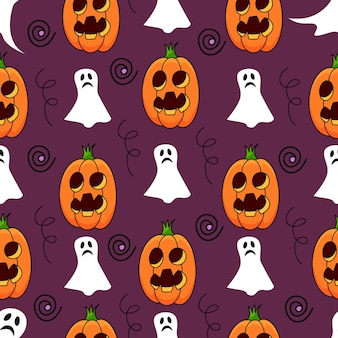 Halloween pumpkin seamless pattern with ghosts on violet background
