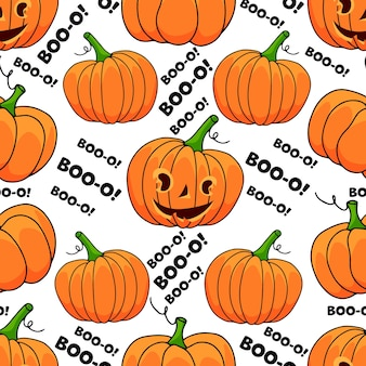Halloween pumpkin seamless pattern with text on white background