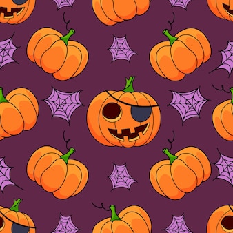 Halloween pumpkin seamless pattern with web on violet background