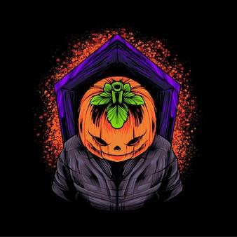 Иллюстрация футболки с тыквой на хэллоуин premium векторы