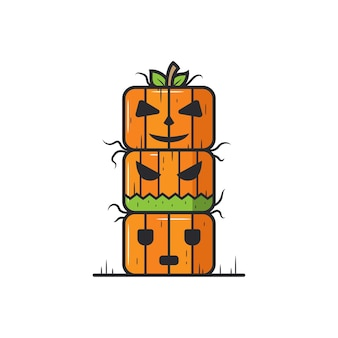 Halloween pumpkin totem