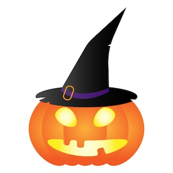 Хэллоуин тыква векторная иллюстрация оранжевой тыквы в шляпе ведьмы плоский стиль