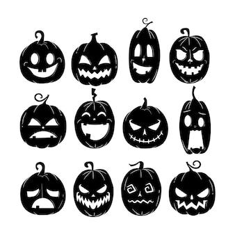Halloween pumpkin vector with various expression template Premium Vector