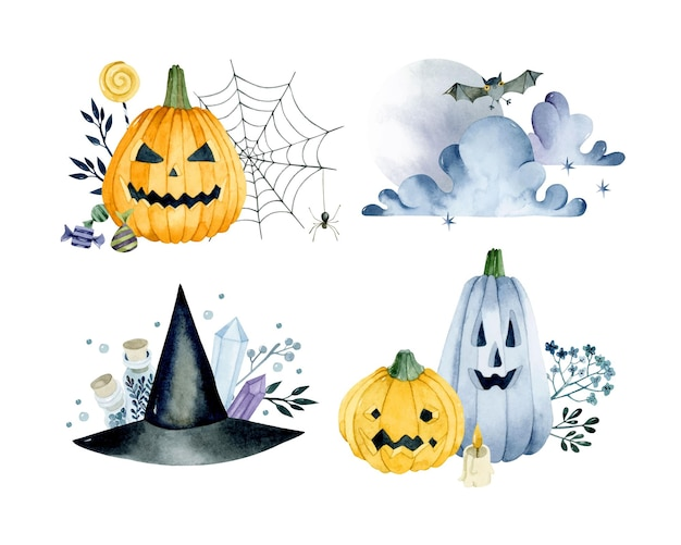 Halloween pumpkin watercolor isolated compositions set