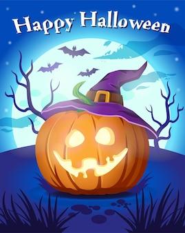 Halloween pumpkin in witch hat. happy halloween. illustration, banner, poster. luminous pumpkin