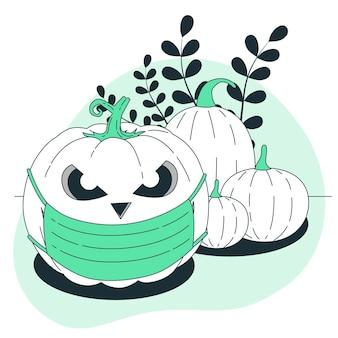 Хэллоуин тыква с иллюстрацией концепции маски для лица