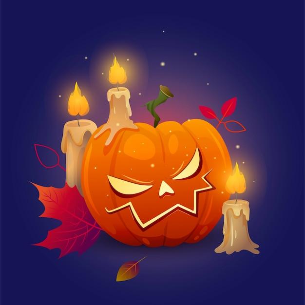 Тыква на хэллоуин со злой улыбкой