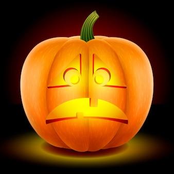 Halloween,  pumpkin with an angry and sad mask.