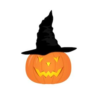 Halloween pumpkin with black witches hat