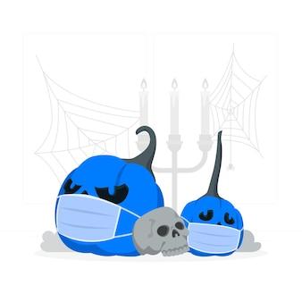 Zucca di halloween con un'illustrazione del concetto di maschera facciale