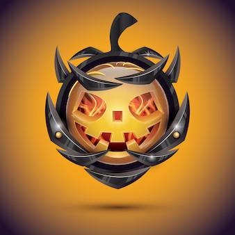 Halloween pumpkin with fire flames on armor. 3d emoji smiley.