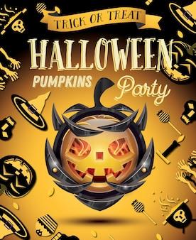 Halloween pumpkin with fire flames on armor. vector illustration. halloween party flyer.