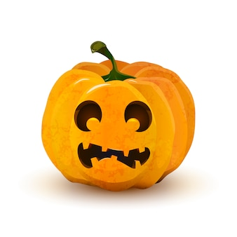 Halloween pumpkin with frightened face isolated on white