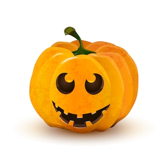 Halloween pumpkin with funny face isolated on white