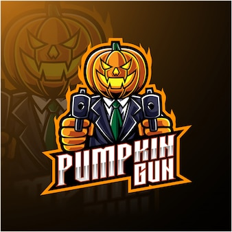 Halloween pumpkin with gun mascot logo