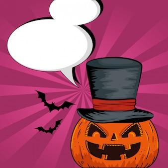 Halloween pumpkin with hat wizard and speech bubbles style pop art